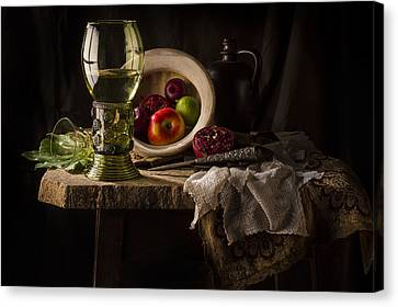 Still Life In Red And Green Canvas Print by Jon Wild