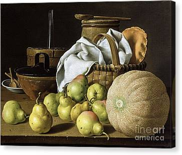 Still-life  Melon And Pears Canvas Print by Pg Reproductions