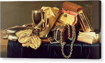 Glass And Metal Art Canvas Print - Still Life Of A Jewellery Casket Books And Oysters by Andries Vermeulen