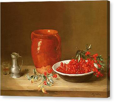 Still Life Of Cherries In A Bowl Canvas Print