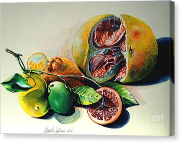 Still Life Of Citrus Canvas Print by Alessandra Andrisani