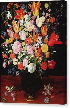Still Life Of Flowers Canvas Print by Kasper or Gaspar van den Hoecke