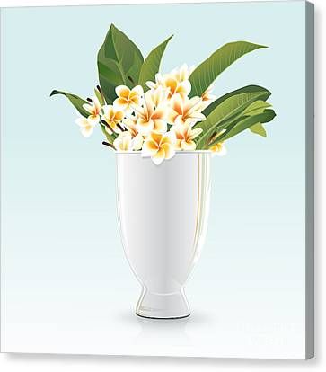 Still Life Of Frangipani Canvas Print by Prakaisak Rojprasert