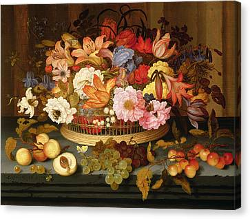 Still Life Of Fruit And A Basket Of Flowers, 1623 Oil On Panel Canvas Print by Balthasar van der Ast