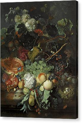 Still Life Of Fruit Birds Nest And Basket Of Flowers Canvas Print by Jan Van Huysum