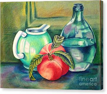 Still Life Of Peach Pitcher And Decanter Of Water Canvas Print by Julia Gatti
