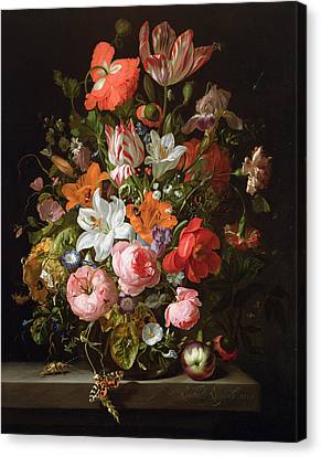 Still Life Of Roses, Lilies, Tulips And Other Flowers In A Glass Vase With A Brindled Beauty Canvas Print by Rachel Ruysch