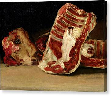 Still Life Of Sheep's Ribs And Head Canvas Print by Francisco Jose de Goya y Lucientes