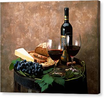 Purple Grapes Canvas Print - Still Life Of Wine Bottle, Wine by Panoramic Images