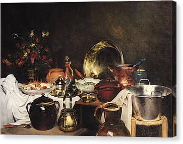 Still Life Oil On Canvas Canvas Print by Theodore Charles Ange Coquelin
