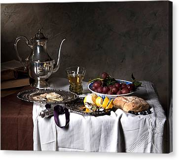 Canvas Print featuring the photograph Little Breakfast Berkemeyer-oysters And Bread by Levin Rodriguez