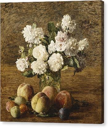 Still Life Roses And Fruits Canvas Print