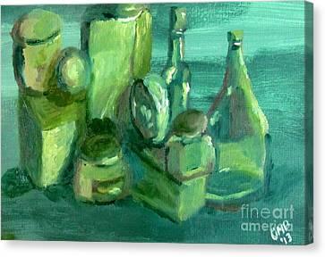 Still Life Study In Green Canvas Print by Greg Mason Burns