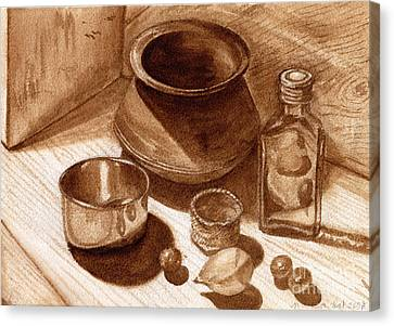 Canvas Print featuring the painting Still Life Walnut Ink by Mukta Gupta