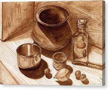Canvas Print featuring the painting Still Life Walnut Ink by Mukta Gupta