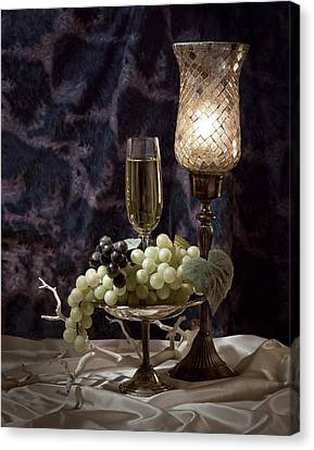 Candle Lit Canvas Print - Still Life Wine With Grapes by Tom Mc Nemar