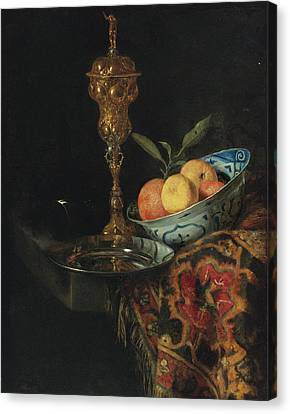 Still Life With A Bowl Of Oranges A Pewter Plate And Gilt Cup Canvas Print by Christiaen Striep attributed to