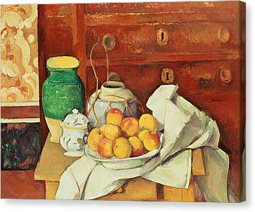 Interior Still Life Canvas Print - Still Life With A Chest Of Drawers by Paul Cezanne