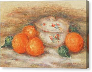 Still Life With A Covered Dish And Oranges Canvas Print