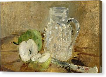 Still Life With A Cut Apple And A Pitcher Canvas Print