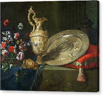 Still Life With A Gilded Ewer Canvas Print by Meiffren Conte
