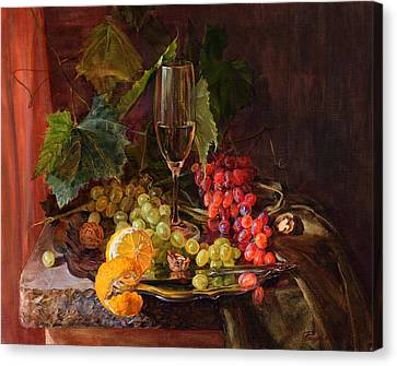 Still-life With A Glass Of Wine And Grapes Canvas Print