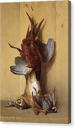 Still Life With A Hare, A Pheasant And A Red Partridge Canvas Print by Jean-Baptiste Oudry