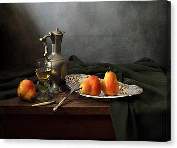 Still Life With A Jug And Roamer And Pears Canvas Print