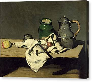 Still Life With A Kettle Canvas Print by Paul Cezanne