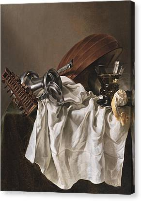 Still Life With A Lute Canvas Print by Willem van Odekercken