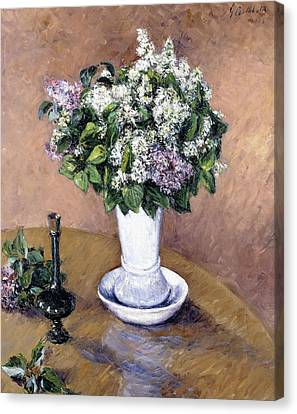 Still Life With A Vase Of Lilac Canvas Print by Gustave Caillebotte