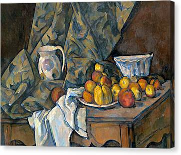 Still Life With Apples And Peaches Canvas Print
