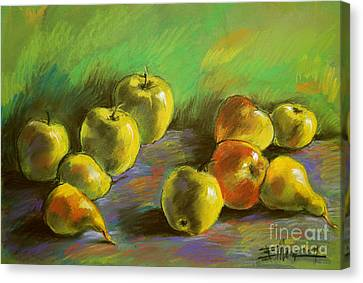 Still Life With Apples And Pears Canvas Print by Mona Edulesco