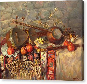 Still-life With Armenian Musical Instruments Duduk Thar And Qyamancha Canvas Print