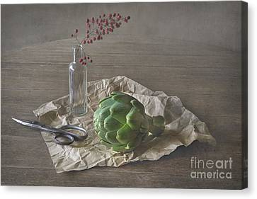 Still Life With Artichoke And Red Berries Canvas Print by Elena Nosyreva