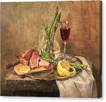 Still Life With Asparagus Canvas Print