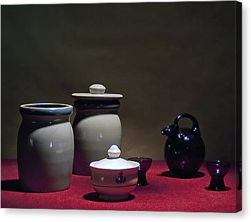 Still Life With Blue Pitcher Canvas Print by Larry Olsson