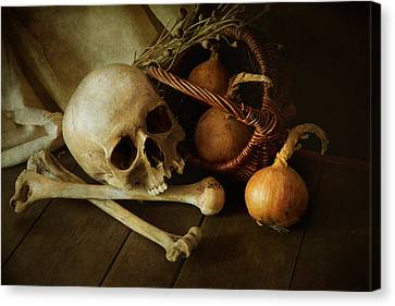 The Wooden Cross Canvas Print - Still Life With Bones And Onions by Jaroslaw Blaminsky