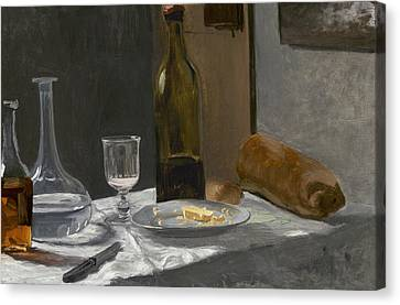 Still Life With Bottle Carafe Bread And Wine Canvas Print by Claude Monet