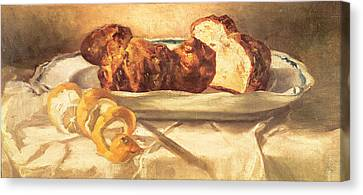 Still Life With Brioches And Lemon, 1873 Oil On Canvas Canvas Print by Edouard Manet