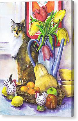 Canvas Print featuring the painting Still Life With Cat by Susan Herbst