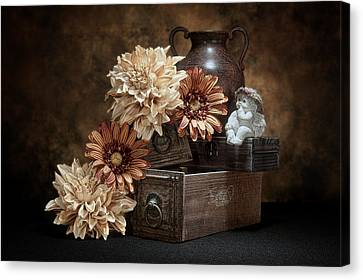 Wooden Box Canvas Print - Still Life With Cherub by Tom Mc Nemar
