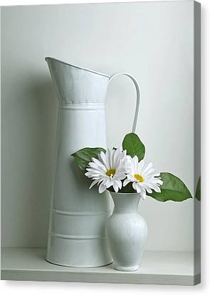 Canvas Print featuring the photograph Still Life With Daisy Flowers by Krasimir Tolev