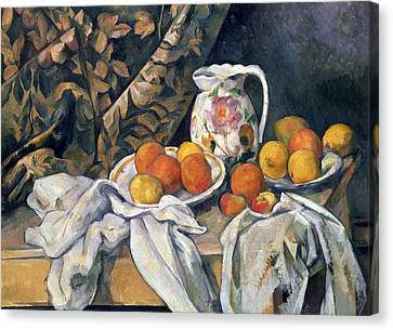 Still Life With Drapery Canvas Print by Paul Cezanne