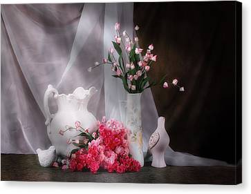 Still Life With Flowers And Birds Canvas Print by Tom Mc Nemar