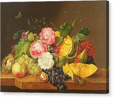 Still Life With Flowers And Fruit, 1821 Canvas Print