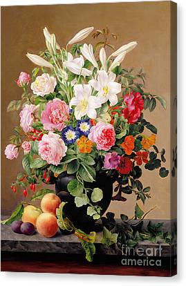 Still Life With Flowers And Fruit Canvas Print by V Hoier