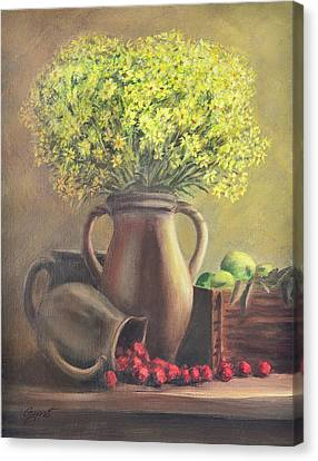 Still Life With Flowers And Fruits Canvas Print by Gynt Art