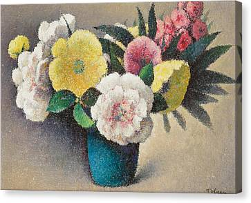 Still Life With Flowers Canvas Print by Felix Elie Tobeen