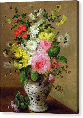 Still Life With Flowers In A Vase Canvas Print by Louise Darru